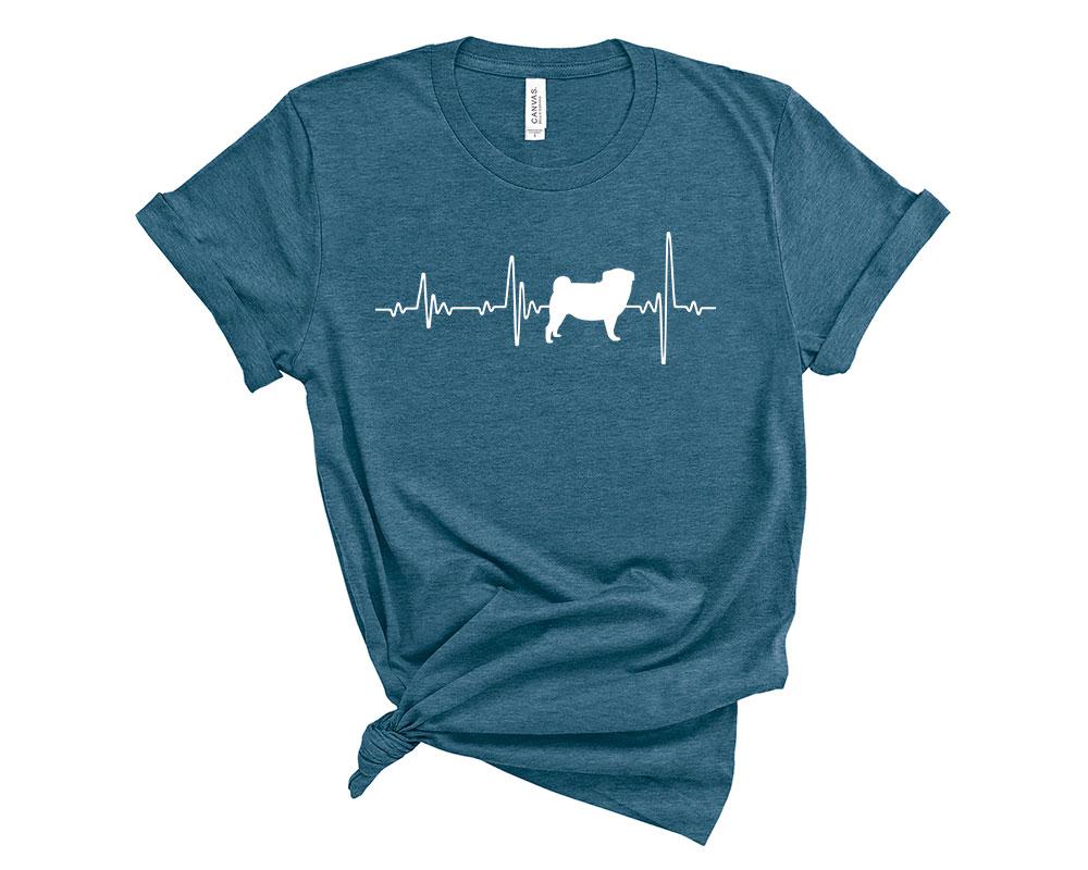 Heather Deep Teal Pug Shirt