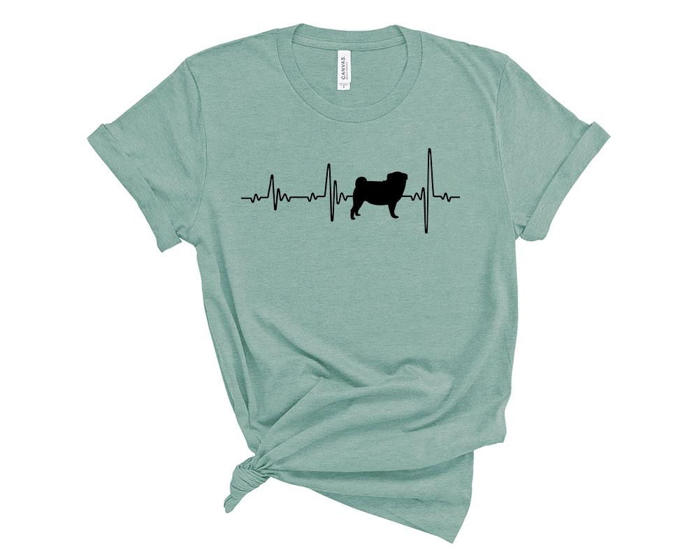 Heather Dusty Blue Pug Shirt