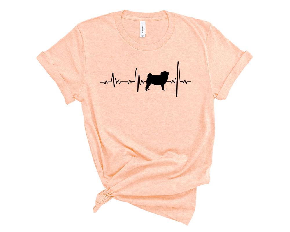 Heather Peach Pug Shirt