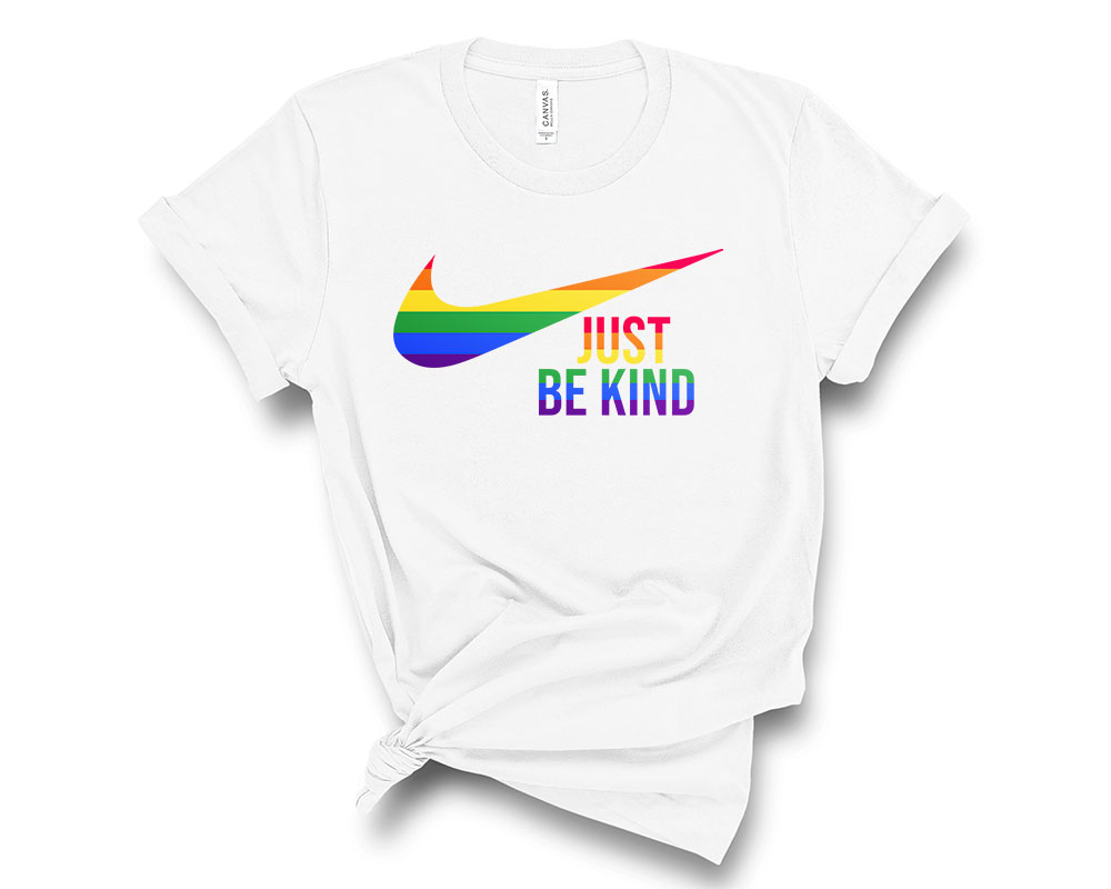 white LGBT Just Be Kind Shirt