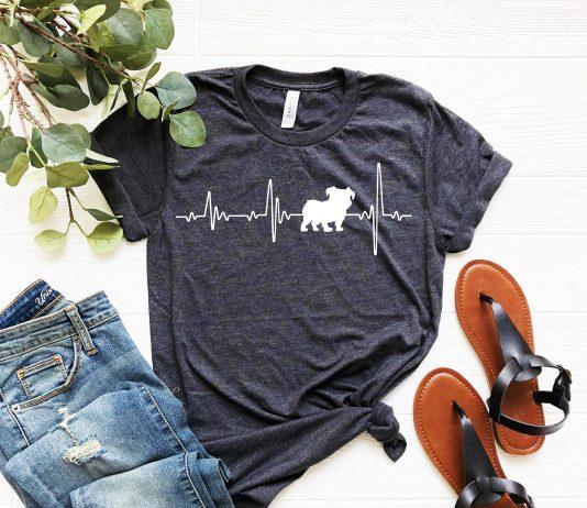 Bulldog Love Heartbeats T Shirt